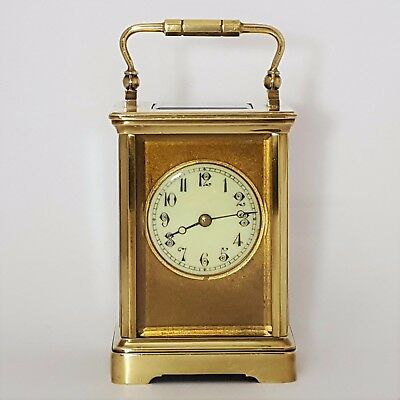 Antique French Brass Cornice Cased Masked Striking Carriage Clock c1900