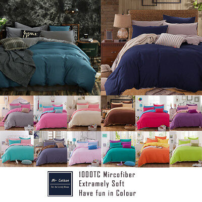 1000TC Microfibre Soft Duvet/Doona/Quilt Cover Set Double/Queen/King/Size Bed f