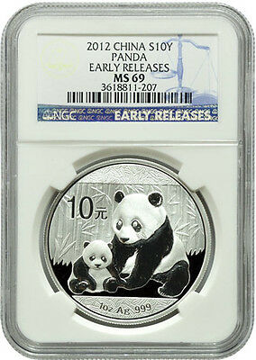 Chinese China Panda 2012 1 oz Silver Coin NGC MS 69 - Early Releases Blue Label