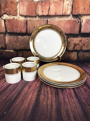 Royal Crown Imperial Porcelain 884 Set Of 4 Coffee/Tea Cups And Snack Plates