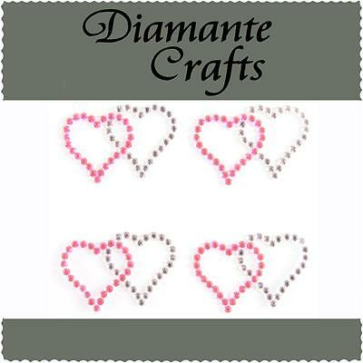 4 x 31mm Hot Pink & Clear Diamante Double Hearts Rhinestone Vajazzle Body Art