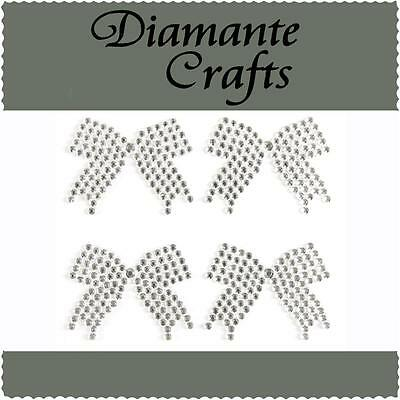 4 x 33mm Clear Diamante Bows Self Adhesive Rhinestone Vajzzle Body Art Gems