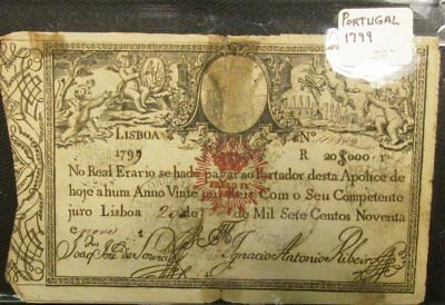 Antique 1799 Portugal Lisboa $20,000 Banknote, with rust colored crown overprint