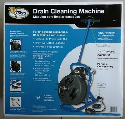 Cobra 100' Ft Wire Auger Cable Electric Drain Cleaner Machine Snake Sewer Tub