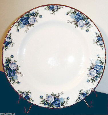 "Royal Albert Moonlight Rose Rim Soup Bowl 8"" Blue Roses Gold Trim New"