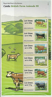 UK British Farm Animals 3 Cattle Post & Go stamps set MNH 2012