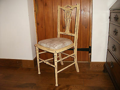 Vintage Painted Shabby Chic Elephant Seat Carved Kitchen Dining Bedroom Chair
