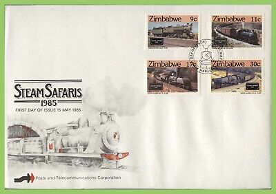 Zimbabwe 1985 Steam Safaris, Railway Locomotives set on First Day Cover