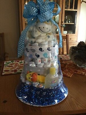 3 Tier Diaper Cake baby boy shower centerpiece or gift