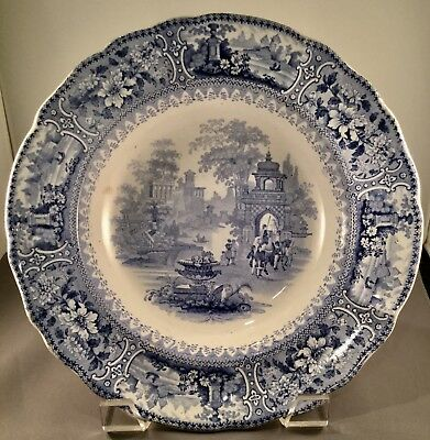 Antique Staffordshire transferware blue and white large rimmed bowl..Gorgeous!