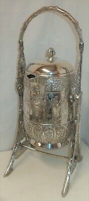 Vintage silver plated Pairpoint tilting cold water pitcher on stand 1835 1/2