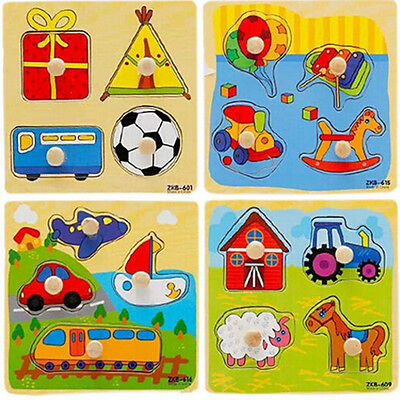 Baby Toddler Intelligence Development Animal Wooden Brick Puzzle Toy Classic <G