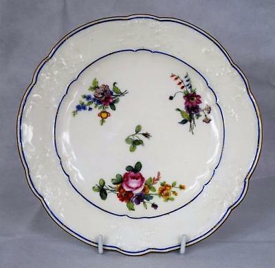 Superb Antique 18th Century Sevres Flower Painted Plate~Dated 1776~Embossed Rim~