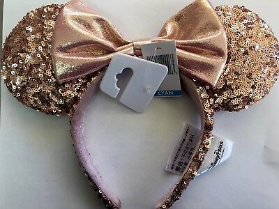 Disney Parks ROSE GOLD Minnie Mouse Ears Headband Mickey Ears Pink 2017 holiday