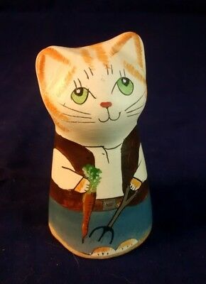 Merryfield Pottery farmer cat candle snuffer hand made & painted, with box