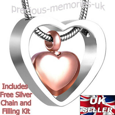 Rose Gold Cremation Ashes Urn Necklace -  Keepsake Jewellery - Memorial Pendant