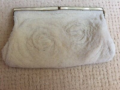 """Vintage white beaded evening clutch with mother-of-pearl clasp 5"""" X 8"""""""