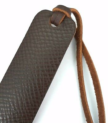 Leather bookmark saddle brown Horween Russia hatch grain leather handmade Uk