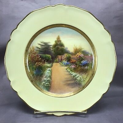Royal Worcester 1926 Hand Painted Signed Rushton Claremont Scene Plate (C3320) b