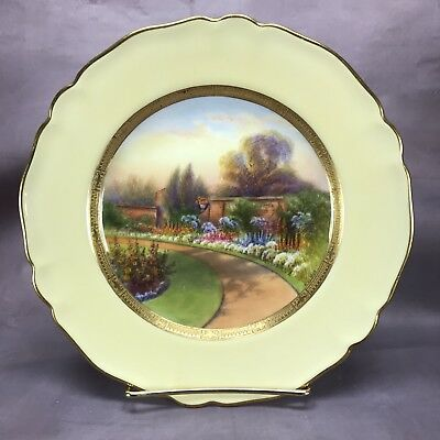 Royal Worcester 1926 Hand Painted Signed Rushton Claremont Scene Plate (C3320)