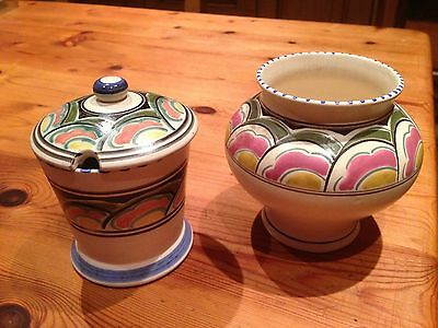 Small vase and a similar lidded pot from Honiton Pottery hand-painted wares