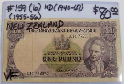 NEW ZEALAND ND (1955-56) 1-POUND NOTE! PICK # 159 (b)! VERY FINE! LOOK!