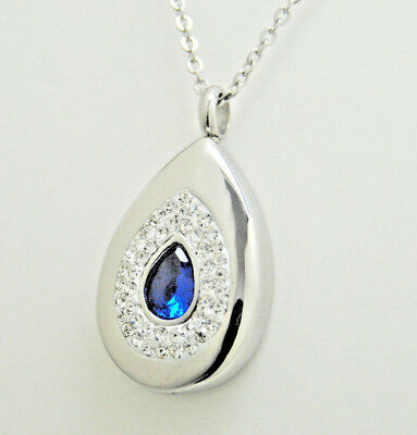 Tear Cremation Urn Necklace Sapphire Blue Cremation Jewelry Tear Drop Memorial