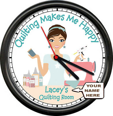 Personalized Quilting Makes Me Happy Sewing Quilting Room Art Sign Wall Clock