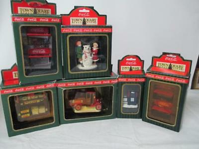 COCA-COLA TOWN SQUARE ACCESSORIES, LOT OF 6 with Boxes