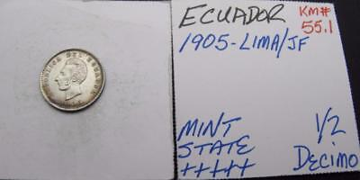 Ecuador 1905-Lima/jf Silver 1/2-Decimo! Minty+++++! Km# 55.1! Nice Type Coin!