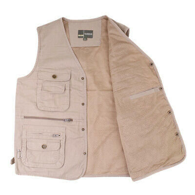Mens Summer Cotton Leisure Outdoor Fishing Vest Travel Photography Jackets
