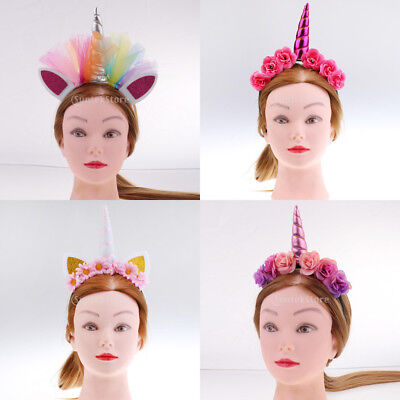Girls Pink White Unicorn Horn Headband Floral Headpiece Fancy Party Costume