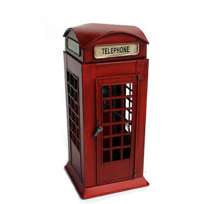 Vintage British London Telephone Booth Antique Metal Phone Booth Decor Figurine