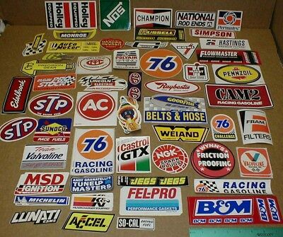 60+ sm-med Drag Racing decal sticker tool box STP Hurst Simpson Fram Edelbrock