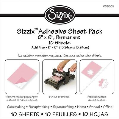 "Sizzix 6""X6"" Adhesive Sheets 10/Pkg"