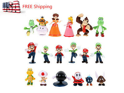 """18 Pcs/Set Super Mario Brothers Bros Action Figures Toy- 2"""" PVC Toys US POST"""