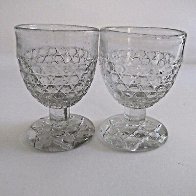 2 Vintage Cut Glass Depression Glass Egg Cups Mid Century Kitchenalia