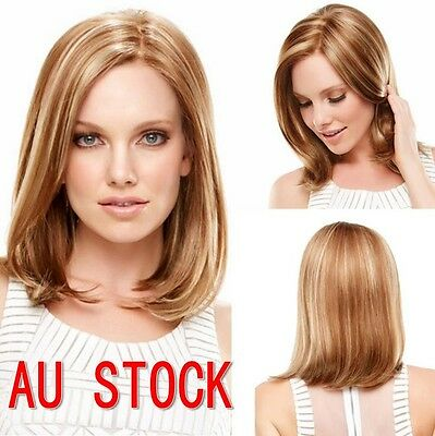 Women Party Blond & Brown Bobo Wig Ladies Cosplay Short Straight Synthetic Hair