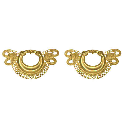 24k GP Pre-Columbian Embossed Ornament with Two Animal Heads Drop Earrings