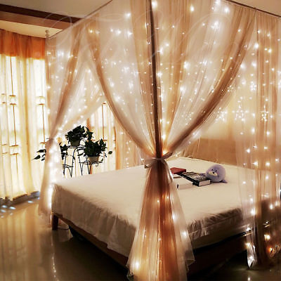 6*3M Fairy String LED Curtain Lights Bedroom Windows Backdrop Decor Waterfall