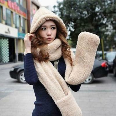 Women Gloves With Pocket Hat Fluffy Hood Scarf Earflap Hat Winter Warm Solid set