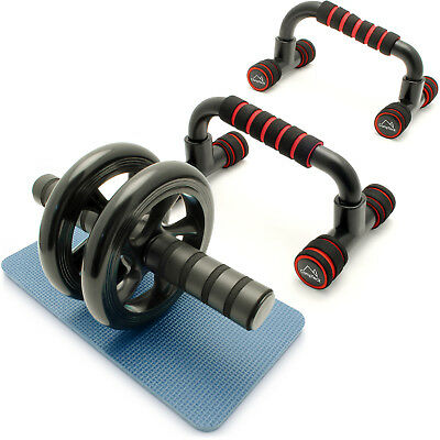 Push Up Bars Stand Handles & Ab Roller Wheel Strength Abdominal Fitness Gym Kit