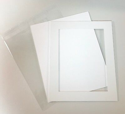 """White Mount Framing Card With Backing Board & Cello Bag Gift 8x6"""" : Pack of 10"""