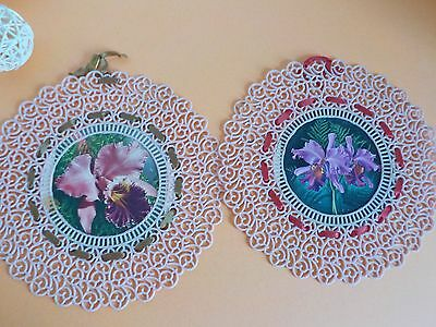 Vintage Plastic Floral Wall Hangings Doilie Like 8 Inches Lot of 2