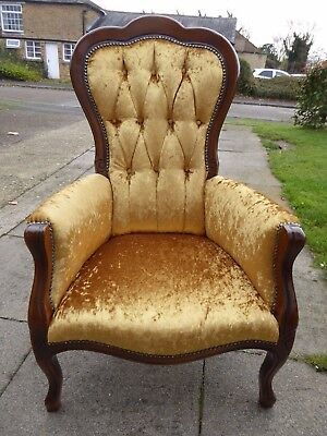 Newly refurbished Gold shaded Reproduction Salon / Armchair