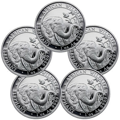 Lot of 5 - 2018 Somalia 1 oz Silver Elephant Sh100 Coins GEM BU SKU49891