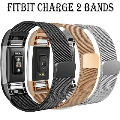 Milanese Loop Stainless Steel band for Fitbit Charge 2 Stronger Magnetic Clasp