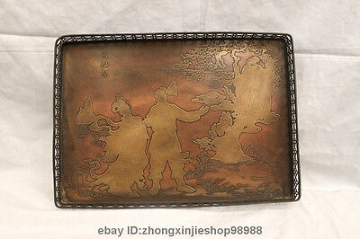 Chinese Royal Old Bronze fairy maiden Longevity god Dish Square Plate tray