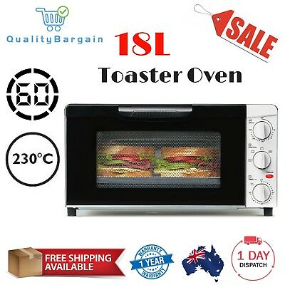 18L Electric Toaster Oven w/ Timer Cook Bake Roast Grill Reheat Bread Sandwich