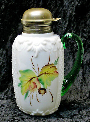 EAPG Scroll & Net SYRUP PITCHER Hand Painted Green Handle Consolidated Glass Co.